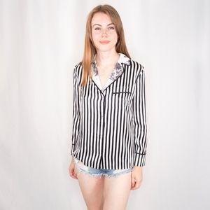 Alice + Olivia Striped Robby Print Blouse XS 0316
